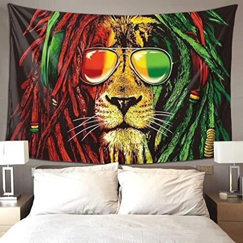 QSMX Tapisserie Wandbehang Hippie Art Reggae, Rasta, Löwe, Wandbehang, Heimdekoration, extra große Tischdecken für Schlafzimmer Wohnzimmer Schlafsaal modisch 60