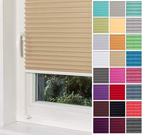 Home-Vision® Premium Plissee Faltrollo ohne Bohren mit Klemmträger / -fix (Beige, B80cm x H120cm) Blickdicht Sonnenschutz Jalousie für Fenster & Tür