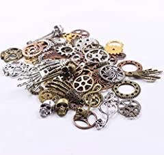 BIHRTC 140 Gram (Approx 92pcs) DIY Assorted Color Antique Metal Steampunk Watch Gear Cog Wheel Skull Musical Note Skull Hand Safety Pin Charms Pendant for Crafting, Jewelry Making Accessory #2