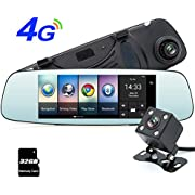 "junsun 4G 7"" Dash Cam Car Camera DVR GPS Bluetooth Dual Lens Rearview Mirror Video Recorder Full HD 1080P Automobile DVR Mirror"