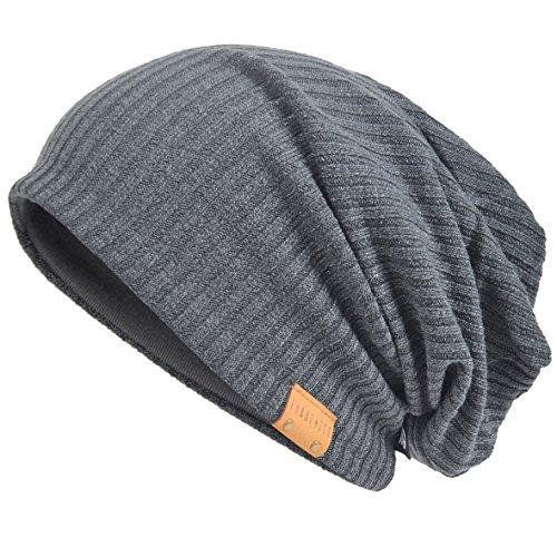 VECRY Herren Baumwolle Mütze Strickmützen Slouch Beanie Schädel Cap Winter Sommer Hüte (011s-Grau)