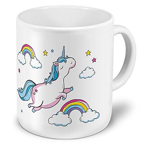 printplanet XXL Riesen-Tasse mit Motiv Dickes fliegendes Einhorn, Kaffeebecher, Mug, Becher, Kaffeetasse - Farbe Weiß
