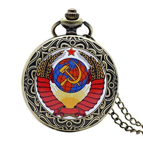 Reloj de bolsillo para hombre, diseño de la bandera de la Unión Soviética de Rusia, estilo vintage, reloj de bolsillo de cuarzo nostálgico, regalo maravilloso para hombres y mujeres