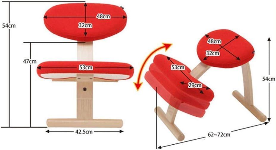 ZJHCC Chaises à Genoux Chaise Ergonomique à Genoux en Bois Tabouret pour Posture orthopédique Siège avec Cadre Mobilier sans Dossier in (Couleur: Gris) Pink