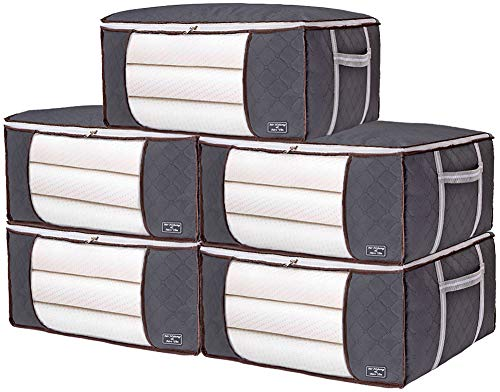 5PCS Large Clothes Storage Bags with 'H' Reinforced Handle 90L Underbed Storage Bags for Comforter Quilt Blanket Bedding Duvet Clothing Storage bags with Zippers Clothes Storage Containers Grey