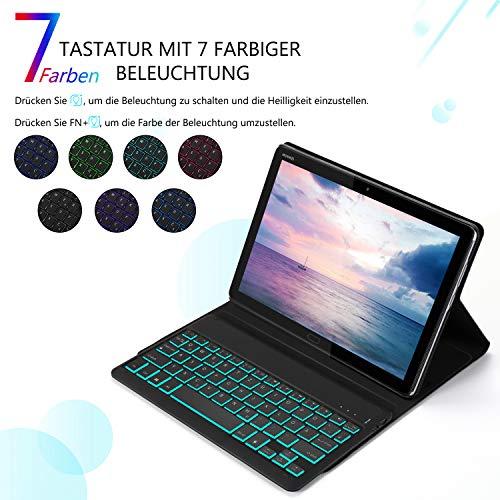 Jelly Comb Huawei MediaPad M5 Lite 10.1 Beleuchtete Tastatur Hülle, QWERTZ Bluetooth Tablet Tastatur mit Ultraslim Schützhülle für Huawei MediaPad M5 25,54cm (10,1 Zoll) mit 7-farbigen Beleuchtung - 2