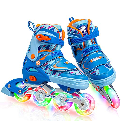 Locavun 4 Size Adjustable Light up Inline Skates for Kids, Beginner Roller Blades for Girls and Boys - 781 Blue-Medium(1Y-4Y)