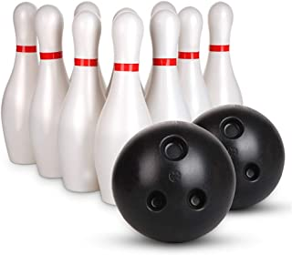 Wecnday-Home Bowling Action Game Bowling Pins Ball Toys Small Plastics Bowling Set Fun Indoor Game with 10 Mini Pins and 2 Balls Toy Great Gift for Baby Kids Toddlers Boys Indoor or Outdoor Games
