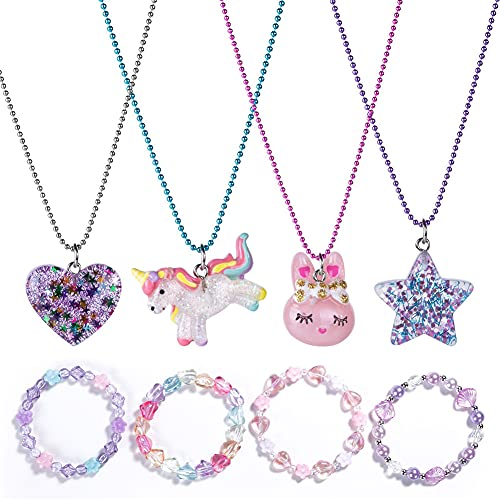 BGSHEMNI 8 Pcs Girls Necklaces and Bracelets Set with Unicorn Star Heart Unicorn Necklace Toddler Jewelry Gift Toy Party Favors Dress up Play Costume Jewelry for Little Toddler Girls Best Friend Necklaces-A1