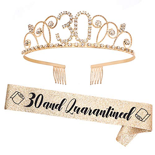Quarantine Birthday Gifts - Gold Glitter'30 & Quarantined' Sash with Black Lettering + Rhinestone Crown Set - 30th Birthday Decorations, Gifts & Supplies