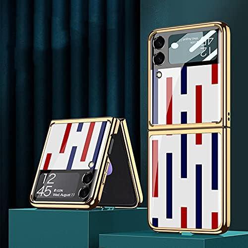 DEMCERT for Samsung Galaxy Z Flip 3 5G Glass Case, Ultra Thin Hard 9H Plating Glass Shockproof Color Stripes Phone Cover for Samsung Galaxy Z Flip 3 5G (Red Blue White)