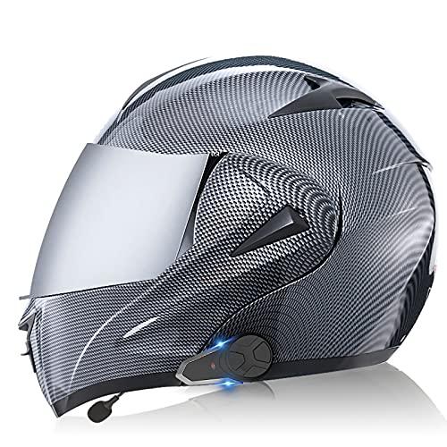 Casco de motocicleta integrado con Bluetooth, intercomunicador FM MP3 incorporado Sistema de comunicación para 2-3 personas Casco modular Casco de ciclomotor certificado ECE/DOT 8,XL=61-62CM