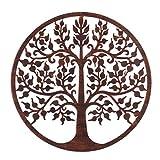 Mural árbol de la Vida exótico en óxido marrón, de Metal, de Ø 60 cm - LOLAhome