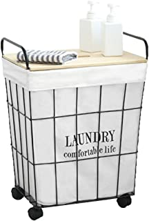 Laundry Hamper Sorter Basket Dirty Clothes Bag Wire Mesh Canvas Lining Retro Nordic Household with Lid with Pulley Tingting (Color : with Cover, Size : 382849)
