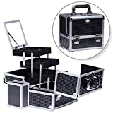 Joligrace Makeup Box Train Case Large Storage Capacity Portable Travel Cosmetic Organizer with Compartments and 2-Tier...