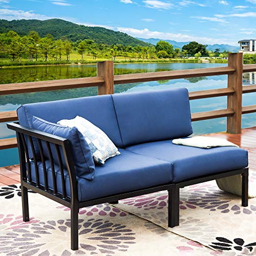 LOKATSE HOME 2 Piece Corner & Armless Sofa Outdoor Furniture Sectional Couch Set Patio Loveseat, 2Pcs, Blue Cushions