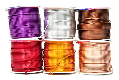 Mandala Crafts Anodized Aluminum Wire for Sculpting, Armature, Jewelry Making, Gem Metal Wrap, Garden, Colored and Soft, Assorted 6 Rolls (16 Gauge, Comb 6)