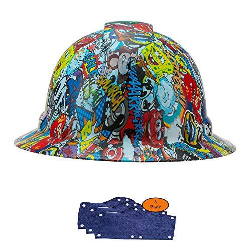 Full Brim Hard Hat, Cartoon Bomb Design Safety Helmet 4pt + 3pk Blue Hard Hat Sweatband, by Acerpal