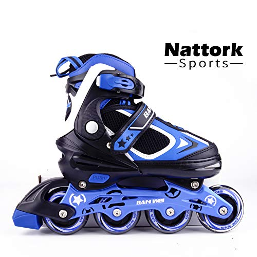 Nattork Adjustable Inline Skates for Kids and Adults with Light Up Wheels, Fun Illuminating Beginner Skates for Girls and Boys, Youth and Women Size 10-12