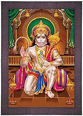 SAF UV Textured 'Hanuman ji' Digital Reprint Painting (9.5 inches X 13.5 inches) SANFR707