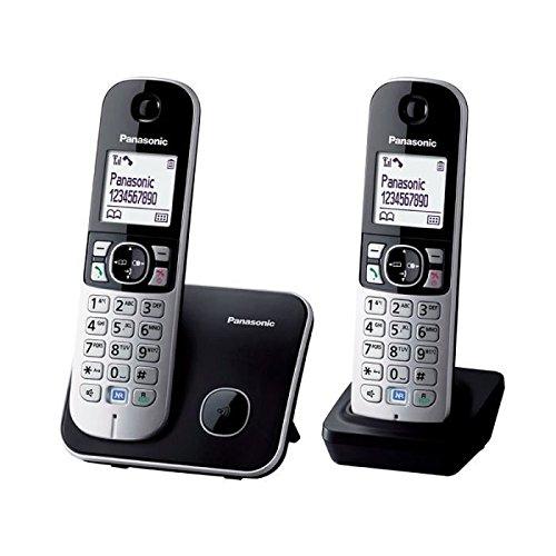 Panasonic KX-TG6812FRB - Teléfono (DECT, Terminal inalámbrico, Altavoz, 100 entradas, Identificador de Llamadas) Color Negro, Plata [Versión Importada]