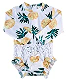 uideazone Baby Girls One-Piece Zippered Swimsuit Swimwear UPF 50+ Rashguard Long Sleeve Bathing Suits Summer Sunsuit 6-12 Months