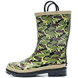 SOLARRAIN Boys Rubber Waterproof Rain Boots with Easy On Handles Non Slip Durable Mud Boots Fun Printed Rain Shoes for Toddler and Kids (Dinosaur, Numeric_7)