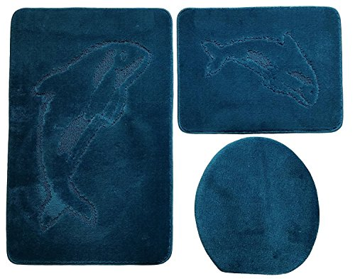 Ilkadim Delphin Badgarnitur 3 TLG. Set 55x85 cm einfarbig, WC Vorleger ohne Ausschnitt für Hänge-WC (Petrol)