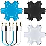 3.5mm ヘッドセット スプリッタ AFUNTA 1 to 5 ステレオオーディオ アダプタ スマホ タブレット ラップトップ スピーカ 立体 分配器