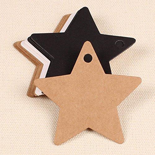 Bazaar 100pcs cinq étoiles kraft étiquettes étiquette en papier fête de mariage de carte-cadeau de faveur balises