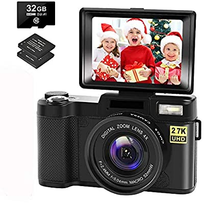 Camera Digital Camera Vlogging Camera with YouTube 30MP 2.7K Full HD Camera with Flip Screen 180 Degree Rotation with 32GB Memory Card,2 Batteries from CEDITA