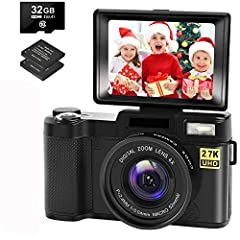 ❤【2.7K Full HD Digital Camera】This digital camera is crystal and clear in image shooting and video.The compact camera record video up to 2.7K/2688x1520. It shoot picture at 30.0 megapixels. This vlog camera performs extremely well in low light. You c...
