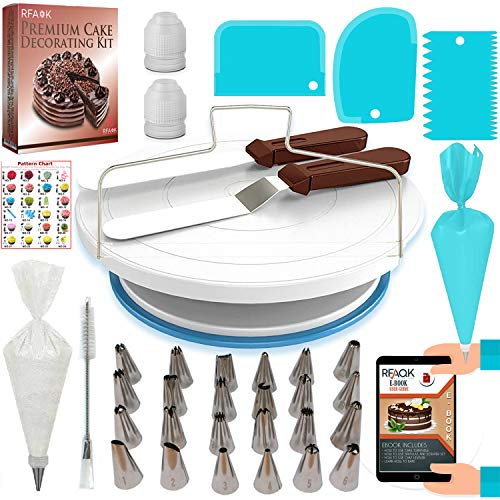 RFAQK 64PCs Cake decorating supplies kit with Non-Slip Cake Turntable-Cake leveler- 24 Numbered Icing Piping Tips with Pattern Chart and EBook- Straight & Angled Spatula-30 Icings Bags- 3 Scraper set