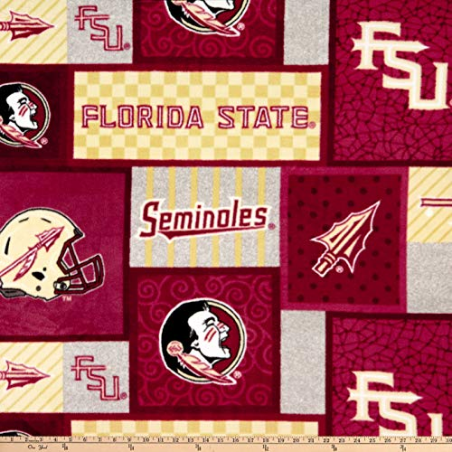 Sykel Enterprises NCAA Florida State Patch Fleece Multi, Fabric by the Yard