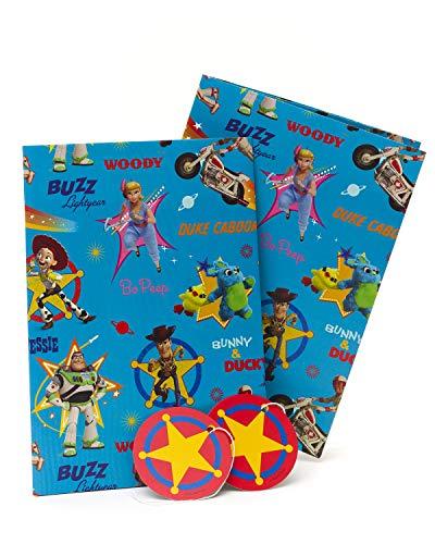 Geschenkpapier für Kindergeburtstag, Toy Story, Geschenkpapier, 2 Bögen mit 2 Anhängern