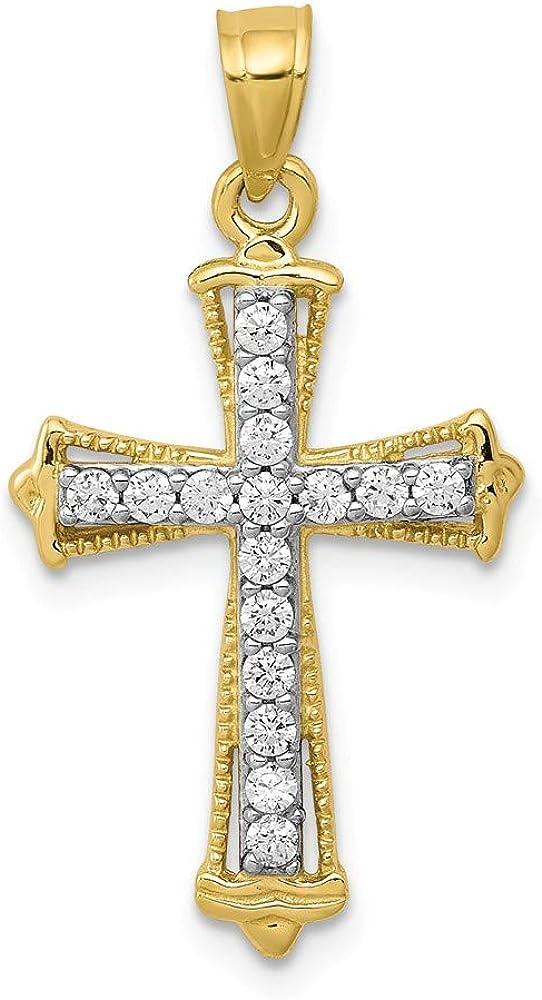 Solid 10k Yellow Gold CZ Cubic Zirconia Cross Pendant Charm - 26mm x 16mm