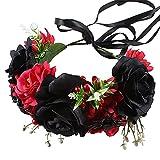ASSR Diadema de flores de simulación, diadema de corona de flores ajustable, aro de pelo nupcial con araña de bayas rojas rosa, tocado de cinta para decoración de fiestas de boda (negro y rojo)