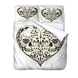 JXSMYT Juego de ropa de cama con diseño de calavera, 100% microfibra, funda nórdica y funda de almohada, 3D juvenil, color blanco (135 x 200 cm + 1 x 50 x 75 cm)