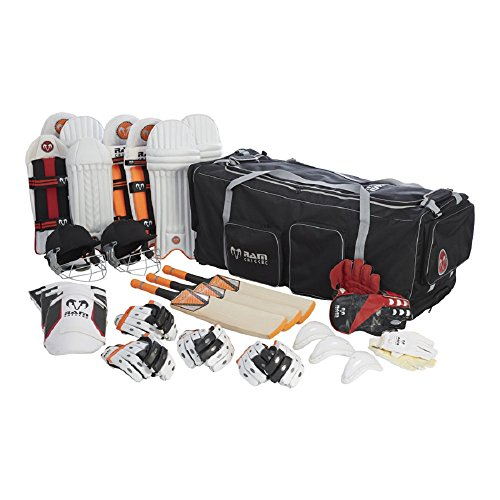 Ram Cricket Club Team Kit Bundle – murciélagos, almohadillas, guantes, casco y bolsa – disponible en 4 tamaños