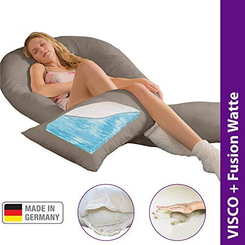 Traumreiter Visco XXL Seitenschläferkissen mit Bezug leinen | Hybrid Kissen mit 1cm Memory Foam I U förmiges Schwangerschaftskissen Gel Body Pillow