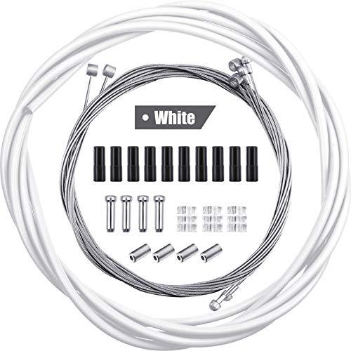 4 Stück Universal Fahrrad Innen Bremse Kabel Gehäuse Kit Fahrrad Bremskabel Ersatz für Berg und Rennrad (Weiß)