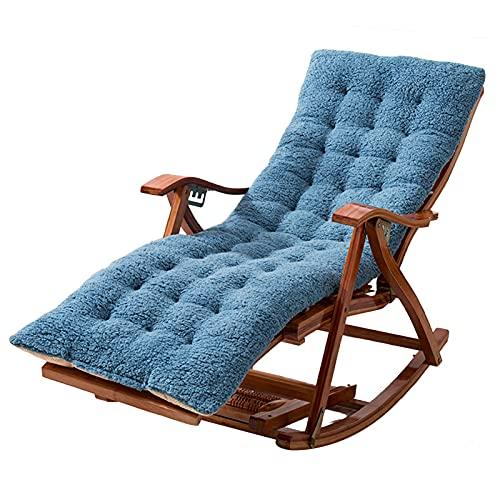 Taburete Tumbona - Tumbona de Exterior Ajustable y Plegable Mecedora de Madera con Respaldo Alto Sillón recreativo para jardín, balcón, terraza, con Cojines (Color: Azul)