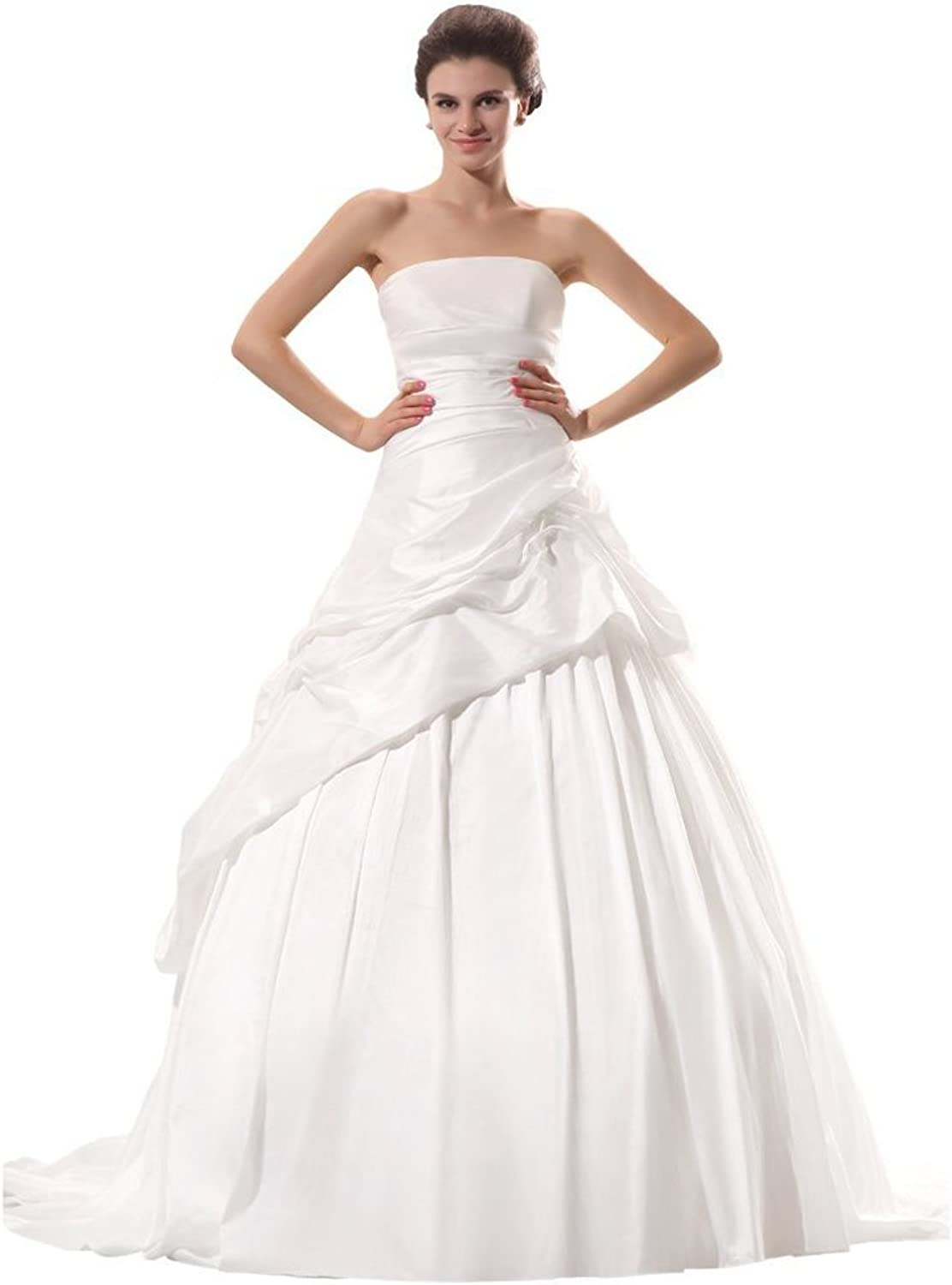 Dearta Women's ALine Strapless Sleeveless Court Train Wedding Dresses