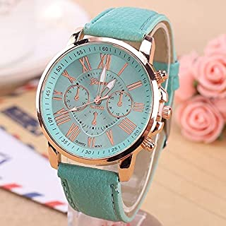 Jewelry & Watch Women and Men Fashion Quartz Watches Leather Sports Casual Watch Leather Strap Watches (Color : Mint Green)