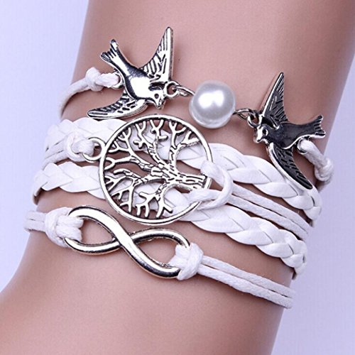 XShuai - Bracelet en cuir multicouche réglable pour jeune femme et fille - bracelet fait main avec breloques au motif infini et pigeons, Matériau : alliage., blanc, Size:17CM