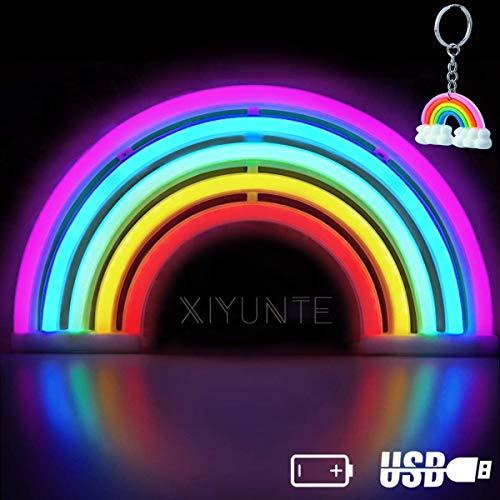 XIYUNTE Rainbow Leuchtschilder - LED Regenbogen Neonlicht bunt Rainbow Neonschild Wandlichter, Batterie oder USB betrieben Regenbogen Licht Dekoration für Zuhause,Kinderzimmer,Bar,Party,Weihnachten