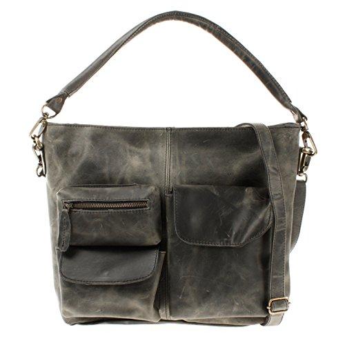 LECONI Schultertasche Ledertasche für Damen Vintage-Look echtes Leder Natur großer Shopper Lederhandtasche für DIN A4 Damentasche Frauen Handtasche 41x32x10cm grau LE0039-wax
