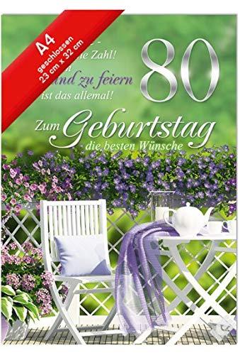 Geburtstagskarte XXL - Din A4 - Zum 80. Geburtstag, Gartenstühle, lila Blumen
