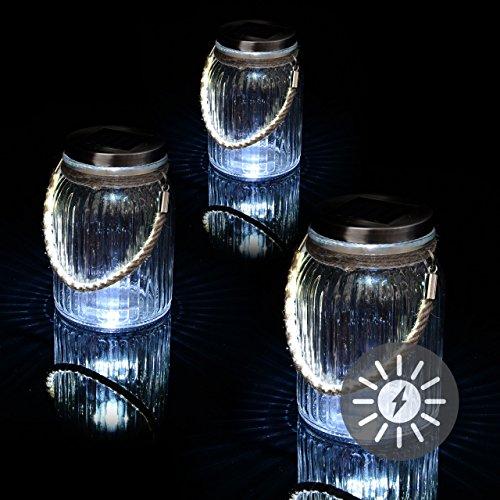 Nexos Solarglas 3er Set mit je 3 LED Solar weiß mit Aufhänger Glas Gartenbeleuchtung Ø 11cm, Höhe 15,5 cm Party Garten Licht für Außen mit Solarpanel Sonnen Energie Beleuchtung