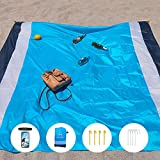 Buddha Lab Beach Blanket Extra Large Beach Mat up to 7 Person 83'' x 79'' (Extra Large, Grey)
